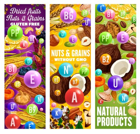 Gluten free dried fruits, grains and nuts with complex of A, U, N, E vitamins. Vector natural products without GMO, organic food. Wheat, hazelnut and coconut, walnut and fig, almond dietary nutrition Illustration