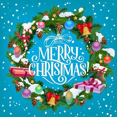 Merry Christmas greeting card, fir wreath and cones. Vector spruce branches and Xmas tree decor, cane candy and sock, jingle bell and holy plant, snow. Greeting card and congratulation, winter holiday Ilustração