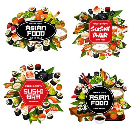 Isolated sushi and roll food, Japanese cuisine meal. Vector maki and temaki, sashimi and ikura, kappa and tobiko. Chopsticks, ginger and wasabi, seafood with rice, boards and bowl with soy sauce