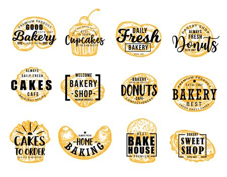 Bakery and confectionery food, lettering symbols. Vector pretzel and cupcake, donut and cakes, baking and bakehouse badge. Sweet shop, croissant and bun, patisserie pastry desserts Banque d'images - 129654869