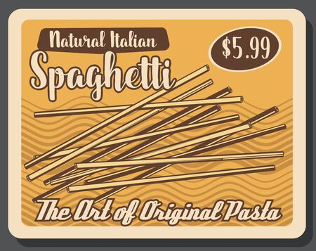 Spaghetti Italian original pasta, retro price tag. Vector long, slender, solid strings made of dough, cuisine dish. Staple food, thick spaghettoni types made of milled wheat