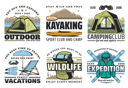 Hiking, camping and kayaking, outdoor adventure and expeditions sport icons. Vector diving on family vacations, wildlife recreation and tourism equipment. Tent, rucksack and sportswear