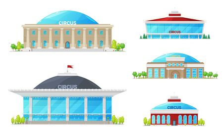 Modern circus building icons, isolated high top circuses. Vector facades of entertainment establishments. Exterior of municipal amusement cirque with windows and entrance, trees Stock Illustratie