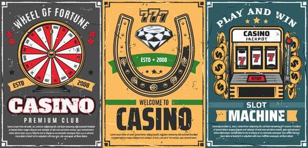 Casino gambling games, retro vector. Wheel of fortune, lucky horseshoe with diamond brilliant and slot machine with 777 jackpot combination. Poker gamble dice, risk in casino club, money