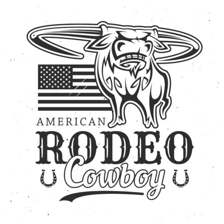 American rodeo and cowboy buffalo with USA flag. Vector T-shirt print design, bucking bull with horns, wild west advertisement. Horseshoes and lettering