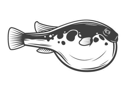 Japanese Fugu fish, isolated pufferfish. Vector poisonous fish with puffed stomach, exotic toxic marine animal. Seaweed, Japanese cuisine delicacy, bogeo or bok porcupine fish