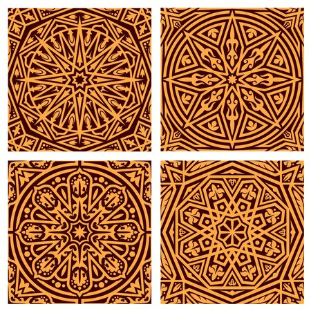 Brown arabic ornaments. Vector pattern with floral elements and motifs. Muslim ancient ornamental art, ornate decor with dots, stars and lines, islamic mosaic