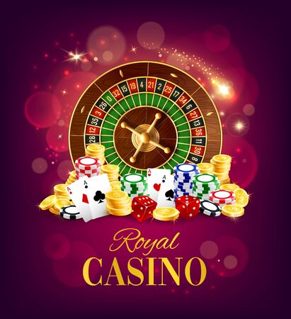 Royal casino, wheel of fortune and gambling dices, poker playing cards on blurred purple. Vector gamble game, golden coins and bets, token chips. Roulette and blackjack chips Illustration