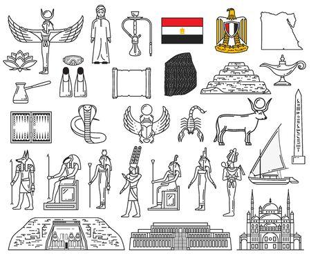 Egypt ancient gods and religion symbol icons. Vector deities, Anubis, Ankh, Horus eye, flag and Sphinx. Pharaoh pyramids, Karnak Temple, Deir el-Bahari, Abu Simbel, Mosque of Ibn Tulun