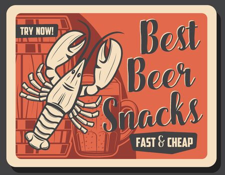 Lobster crayfish and beer drink, vector. Silhouettes of wooden barrel with beer and mug of alcohol frosty drink. Ocean crustacean seafood