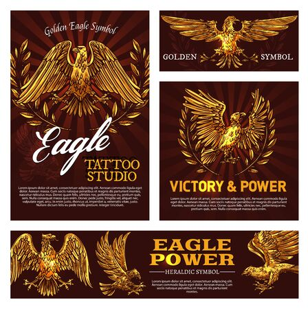 Golden eagle symbol of victory and power heraldry sign. Vector tattoo studio emblem with mascot bird, heraldic falcon and laurel branches. Flying feathered animal legendary beast symbolizing strength