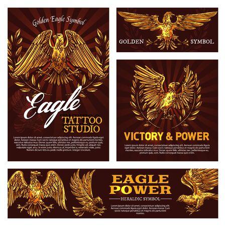 Symbole de l'aigle royal de la victoire et du signe héraldique du pouvoir. Emblème de studio de tatouage vectoriel avec oiseau mascotte, faucon héraldique et branches de laurier. Bête légendaire d'animal à plumes volant symbolisant la force