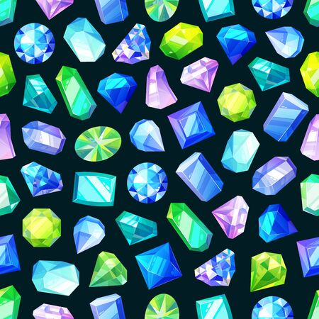 Gemstones, gems and crystals seamless pattern. Vector jewelry stones, diamonds and brilliants. Luxury precious rhinestone and sapphire, amethyst, aquamarine and tourmaline Illustration