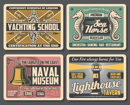 Marine adventure, yachting school, beach club, naval museum and lighthouse tavern. Vector nautical sport club, maritime transport, gold deck bell and sea relics