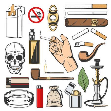Simboli del fumo, accessori per abitudini nocive isolate. Icone vettoriali di tabacco, pacchetto di sigarette e sigaro, narghilè o shisha. Vape e pipa, fiammiferi e accendino, posacenere, teschio della morte, nessun segno di tabacco