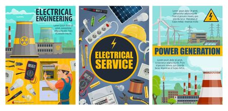 Electrical engineering and power generation energy sources. Electrician service transformer, fixing tools and equipment. Power plants and generators, transmission tower, pipes of nuclear station