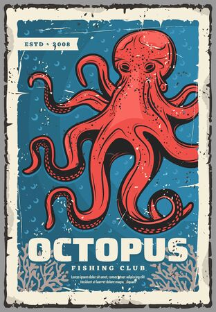 Red octopus, underwater animal. Vector animal with tentacles, sea monster and evil kraken. Ocean mollusk with red body, eight feet predatory and seaweeds, fishery seafood