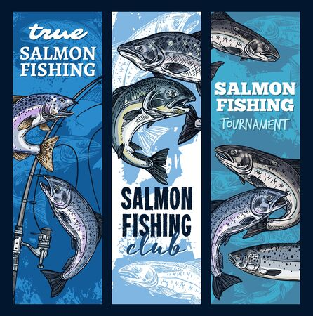 Salmon fishing, sport club or tournament. Vector fishery gear, rods and fish catched on hook. Fisherman spinning, pink salmon sketch. Humpback fish, underwater animal Vektorové ilustrace