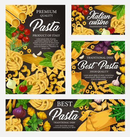 Pasta cuisine dish with greens and vegetables. Vector Italian pasta with spices, spaghetti and penne, macaroni and farfalle, fusilli. Homemade food of dough, fettuccine and gnocchi, orzo