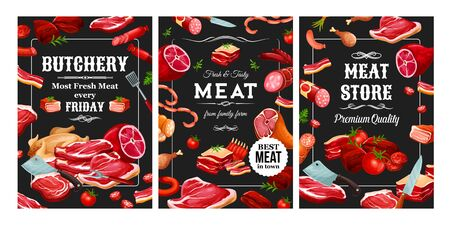 Meat and sausages, butchery food and cutlery. Vector pork and beef, lamb and veal, poultry and seasonings. Bacon and tenderloin, raw fillet and steaks, chicken and vegetables, mutton and beefsteak Illustration