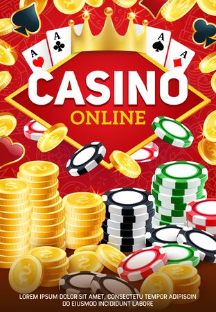 Online casino. Gambling game, blackjack and poker playing cards on red. Vector chips and dice, stacks of gold coins, royal golden crown