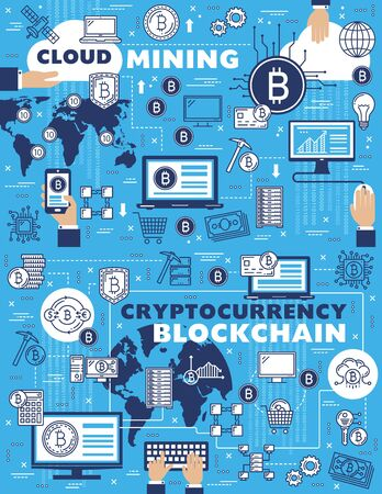 Cloud mining, blockchain and Bitcoin cryptocurrency payments, vector outline symbols. Wallet in smartphone, digital money and cryptocurrency extraction technologies. Computer chipset and miner pickaxe