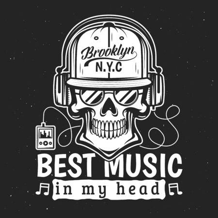 Skull in headphones listening to music. Vector t-shirt print and tattoo design, skeleton head in sunglasses and cap with lettering. Music in my head, player and earphones Stock Illustratie