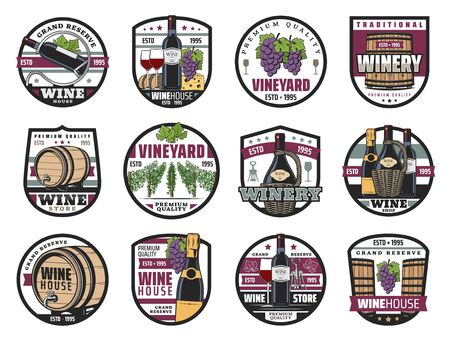 Wine house and vineyard, winery store, wine making icons. Vector bottles of red and white wine, wooden barrels and grape. Grand reserve of grapevine, valleys and alcohol drink glasses