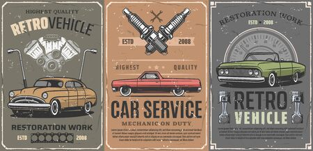 Restauratie van retro voertuigen, oldtimerservice. Vector reserveonderdelen, dienstdoende monteur en motorreparatie, motordiagnose en chassisrestauratie. Snelheidsmeter en bandenpompen, autotuning