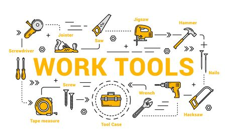 Work tools isolated icons. Vector jointer and saw, jigsaw and hammer, nails, hacksaw, wrench and tool case, tape measure and screwdriver. Carpentry and woodwork instruments, DIY toolkit Çizim