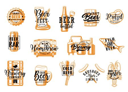 Beer fest, brewery craft, snacks food isolated icons with lettering. Vector bottles, pint mugs with malt and hop. Beer tavern pub, homebrew. Alcohol drink and fish, sausages, crayfish