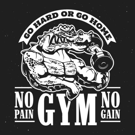 Crocodile bodybuilder with dumbbell, sport gym advertisement, monochrome t-shirt print. Vector muscular alligator working hard Fitness or gym sport club mascot, athletic animal monster