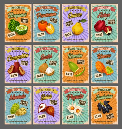 Exotic tropical fruits retro price cards, farm market. Vector bergamot and persimmon, quince and ackee, chambakka and santol, kuruba and kivano. Morinda and salak, physalis and jambolan exotic fruit Ilustracja