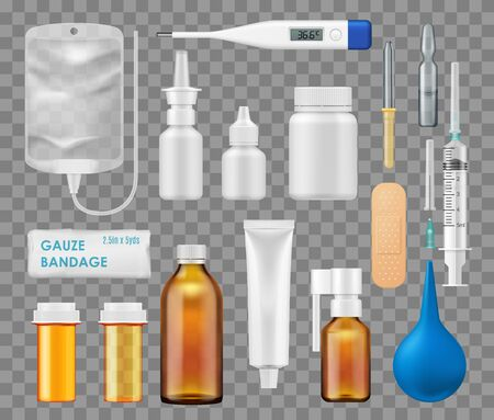 Medical tools, doctor therapy and treatment items. Vector isolated realistic digital thermometer, injection syringe and gauze bandage, nasal spray and dropper, medical test tube and medicine ampule
