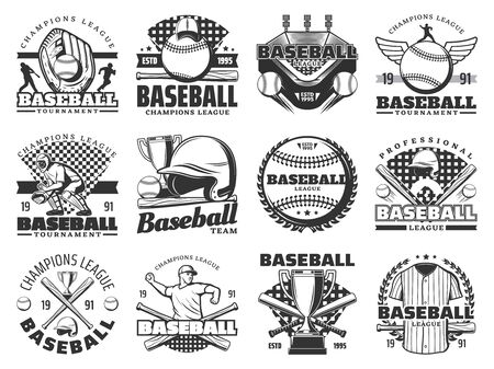 Baseball sport game isolated icons. Vector sporting items, glove and ball, trophy cup and stadium, players uniform, stadium or arena. Tournament or championship symbols 일러스트