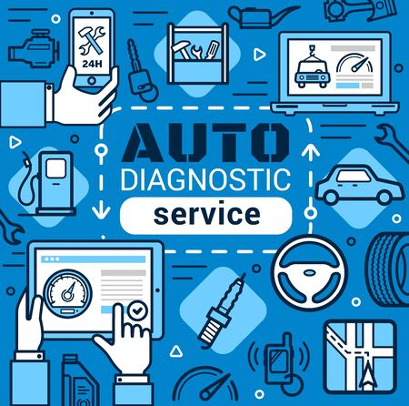 Car diagnostic service, line art vector. Car repair, mechanic maintenance. Navigation and petrol station, computer diagnostic and tire fitting, plumping and oil change at garage station Stock Illustratie
