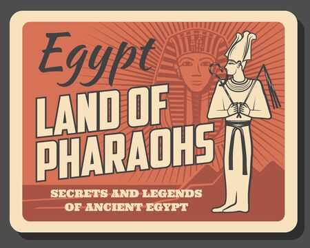 Egypt pharaohs Tutankhamun, retro vector style. Egyptian god with pectoral belonging in long robe. Tutankhamuns death mask, legendary pyramids and secrets of ancient civilization, travel to Egypt