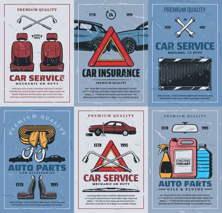Car repair service and spare parts, vector. Vehicles insurance and emergency tools, seats and spare parts. Accidents on road, cleaning sprayers and antifreeze, radiator and spanners or wrenches  イラスト・ベクター素材