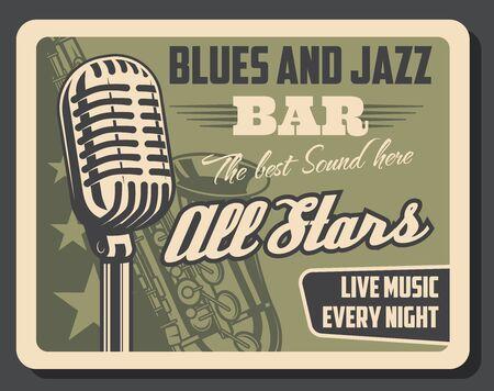Blues e jazz musica dal vivo, vettore retrò. Strumento musicale microfono e sassofono. Invito vintage con microfono che produce i migliori suoni, tromba d'ottone, spettacolo di orchestra sinfonica con vecchio sax