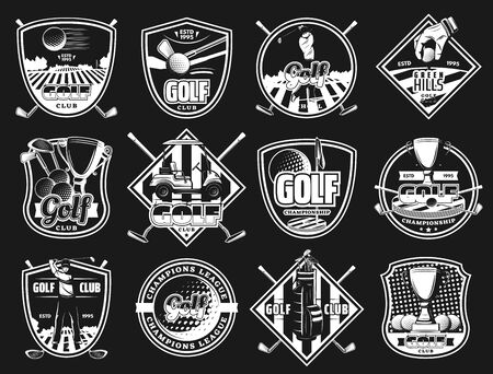 Golf sport club monochrome isolated icons and badges. Vector golfing court, ball and stick, player and sporting equipment. Tee course and cup award, golf cart, championship heraldry symbols on black