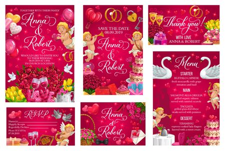 Save The Date invitation, bride and groom names, menu and RSVP respond card. Vector wedding or engagement party celebration, marriage ceremony. Doves and balloons, wedding cake, flowers, cupids Illustration