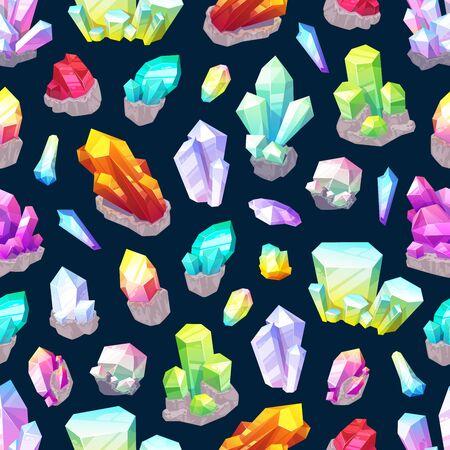 Modèle sans couture de cristaux, pierres précieuses et minéraux naturels. Pierres précieuses coupées vectorielles, diamants étincelants. Gemmes de l'industrie de la bijouterie de fond, grenat, émeraude, améthyste et quartz, saphir et rubis