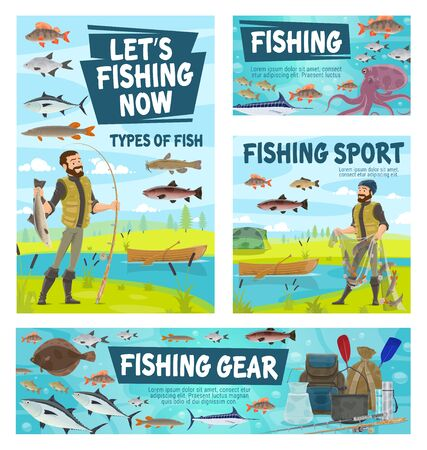 Fishing gear and fisherman, fisher tackles and kinds of fish. Vector boat in river, man with rod and caught trout, seafood octopus, salmon and carp. Fishing sport equipment, rucksack and paddles 일러스트