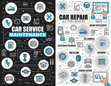 Car repair and maintenance outline vector icons. Service of oil change, assistance on roads, tire fitting, vehicles wash. General car renovation, wheel, speedometer, wrenches and fuel Stock Vector - 129654920