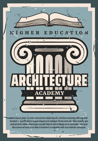 Architecture academy or university, builders and architects educational establishment. Vector. Education advert, building with pillars, vintage construction. Open book, education knowledge
