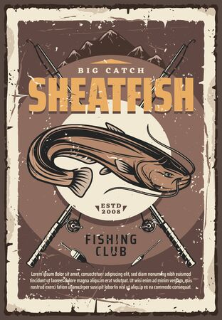 Sheatfish, crossed rods and tackles vector. Large freshwater fish with whiskerlike barbels, fishery equipment, spinning and bobber, lake and mountains. Catch big catfish fishing sport