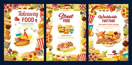 Fastfood, frames of takeaway street food. Vector burger and pizza, cheeseburger or hamburger and hot dog, sandwiches and nuggets, fries and chicken wings, ice cream, coffee or soda drinks Stock Illustratie