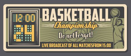 Basketball championship live broadcast and sport club vintage poster. Vector basketball team champion cup game, winner goal scoreboard and player with ball