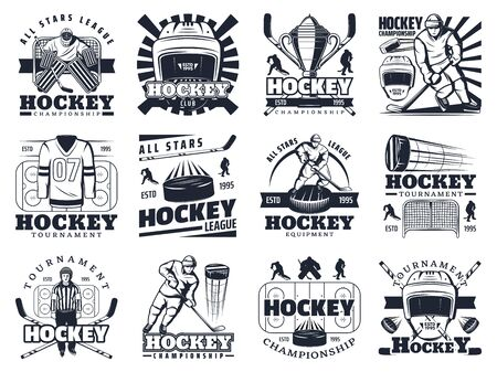 Ice hockey team club emblems and tournament championship cup icons. Vector ice hockey puck, stick and goalkeeper mask, professional equipment and outfit store, winner league stars badge Illustration
