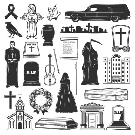 Funeral icons and symbols of grave tombstone, death and coffin at cemetery. Vector church, funeral hearse car and widow in black, cremation urn and columbarium mortuary flowers, priest with bible Illustration